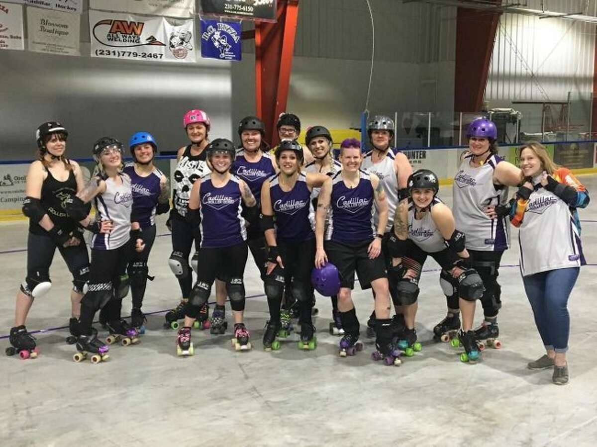 The Cadillac DeVillains roller derby team will take to the track in their first home bout of the season this weekend. Members of the team said women of all ages and skill levels are encouraged to come to an open practice to give the sport a try. (Courtesy photo)