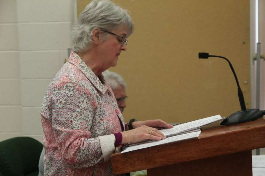 Mecosta County Drain Commissioner Jackie Fitzgerald provides her annual report to the Mecosta County Board of Commissioners on Thursday morning. (Pioneer photo/Brandon Fountain)