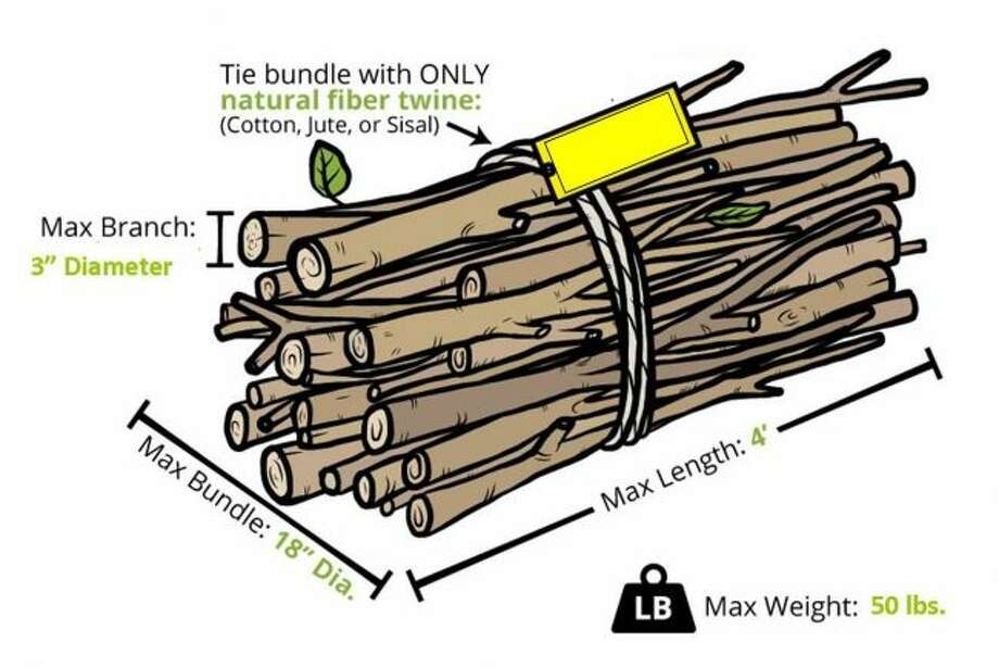 Republic Services requires branches to be in bundles to be set with yard waste for pick up each month. (Courtesy photo)
