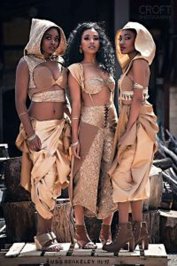 Big Rapids native Ashlee Larson will display her designs on the runway during the Threads Fashion Show on Saturday, April 7, at Central Michigan University. Modeling her Arabian Nights collection, which she describes as a fusion of tribal designs and desert clothing, are Ogungboye Boluwatife, Diamond Pearson and Zoë Lewis. (Courtesy photos)