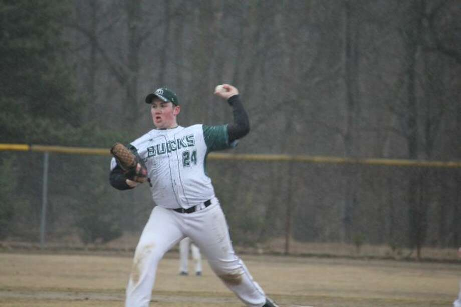 Pine River's Hunter Poe delivers a pitch during the regular season. (Pioneer photo/John Raffel)