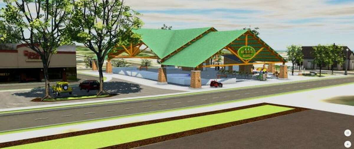 City officials and members of an advisory board are working to develop plans for a pavilion which would serve as a covered location for the downtown farmers market, as well as an ice rink during the winter. Members of the Big Rapids City Commission are expected to consider approving an application for a Michigan Economic Development Corporation grant for the project at an upcoming meeting. (Courtesy photo)