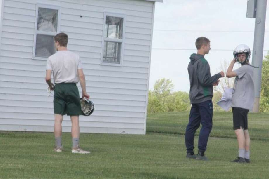 Pine River football players get ready for a Monday summer practice. (Pioneer photo/John Raffel)