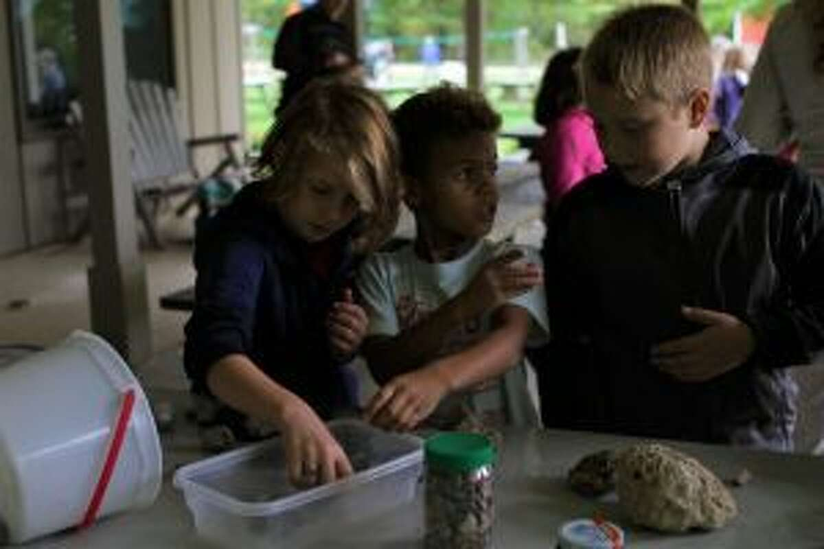 Mecosta Elementary students (from left) Jersey Prill, Logan Jackson and Landon Warner look through a collection of Petosky stones at the Michigan rocks station. At this table, students could dip the stones in water to see the patterns.