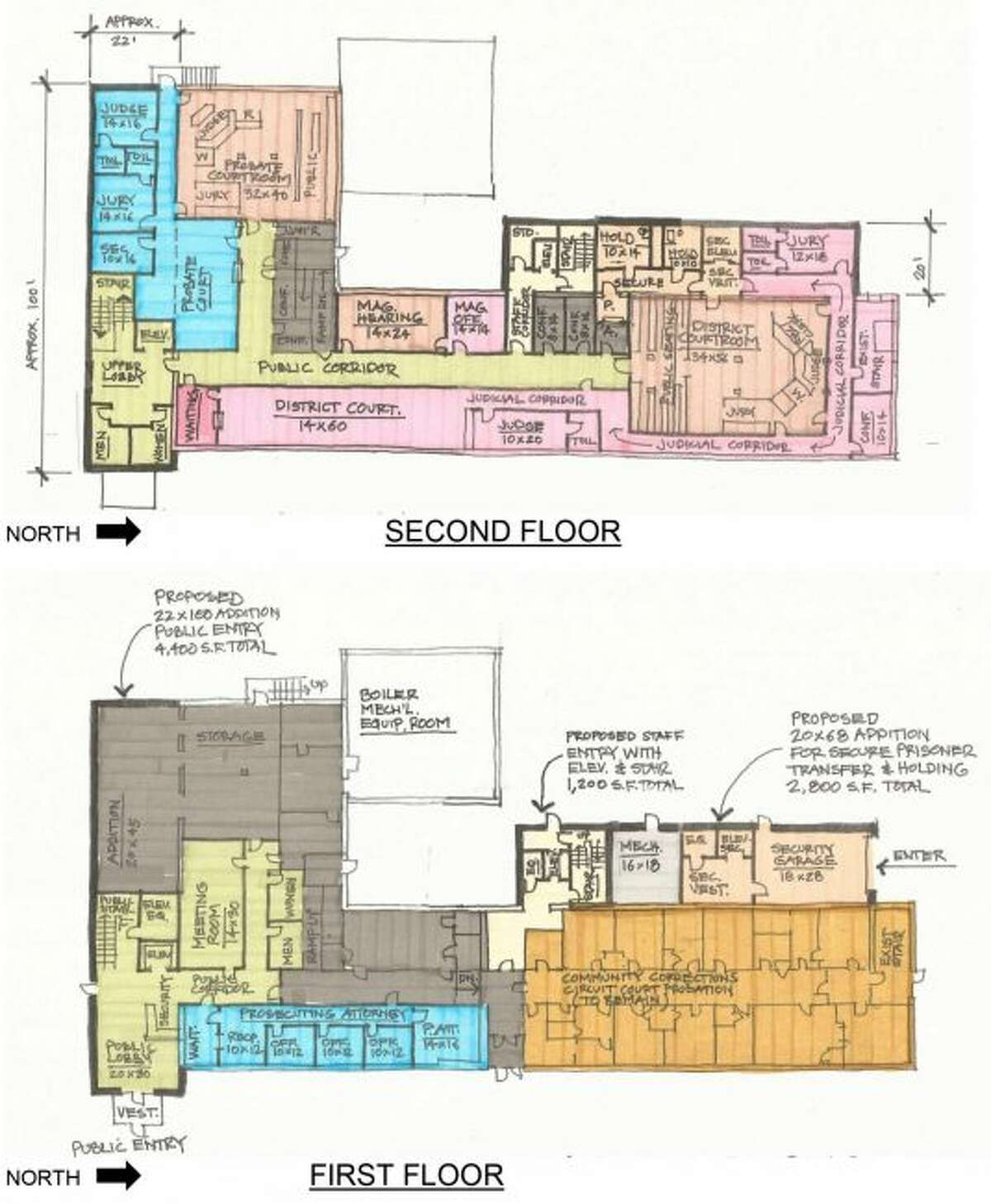 The feasibility study for the Osceola County Courthouse and Annex Building includes the new layout of one plan for renovations to the Annex Building, which includes a new public entrance, security screening and use of the space of the former library. The project is estimated at $2.9 million by Landmark Design Group. (Courtesy Photo)