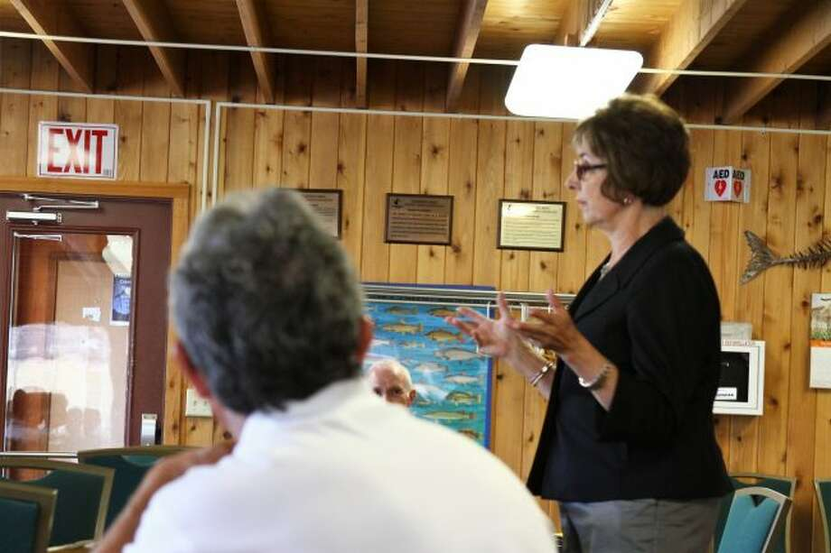 Sen. Judy Emmons, R-Sheridan, addresses members of the Mecosta-Canadian Lakes Chapter of the Michigan Association of Retired School Personnel (MARSP), during the group's meeting Thursday at the Alpine Haus in Canadian Lakes. Emmons discussed recent changes to Michigan's public school employees retirement system. (Pioneer photo/Emily Grove)