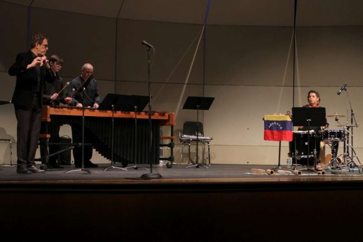 The second week of the New World Exploration concert series as part of the 13th annual Tuba Bach highlighted music from Central and South America with performances by (from left) Marco Granados, Noah Mallett, Ed Mallett and Jackeline Rago. (Pioneer photos/Taylor Fussman)