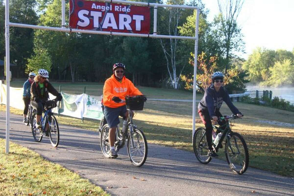 Participants in Angel Ride 2017 began their ride in Northend Riverside Park. This year, the Angel Ride-Run-Walk event offers people the option of participating in a bike ride or 5K run/walk, and will take place on Saturday, Sept. 29. Proceeds from the event will go to the Angels of Action to help feed children in Mecosta County. (Pioneer file photo)