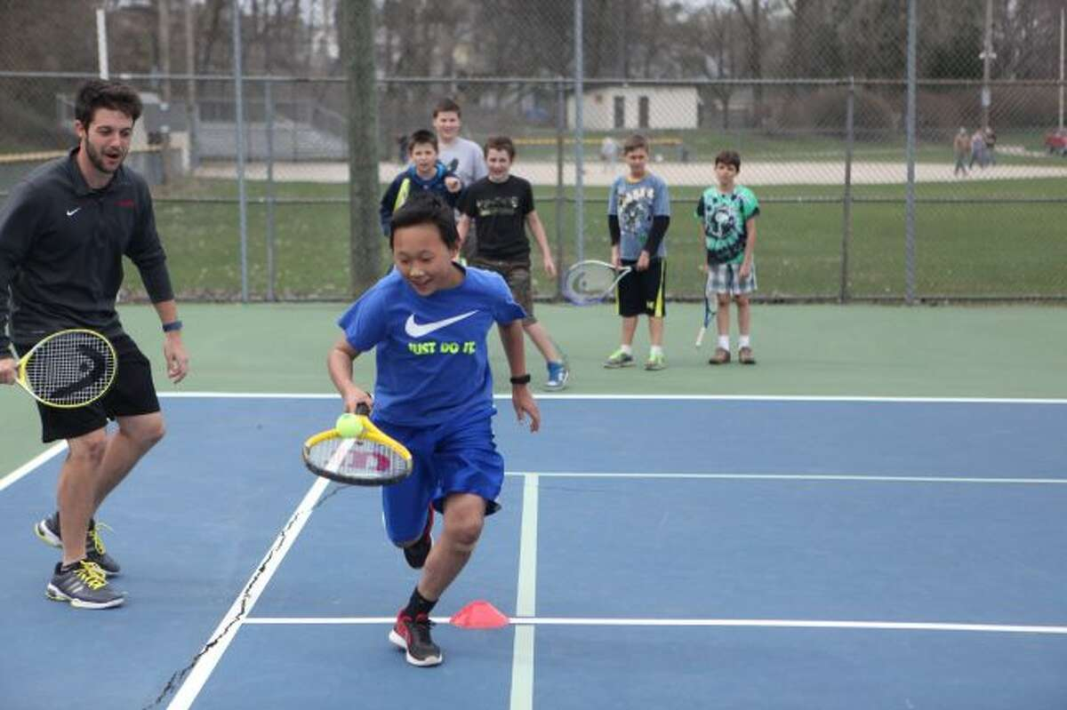 The tennis in the park program at the Hemlock Park tennis courts offers local youth the chance to learn a new skill and have fun at the same time. Registration is now open for three sessions of lessons taking place in July. (Pioneer file photo)