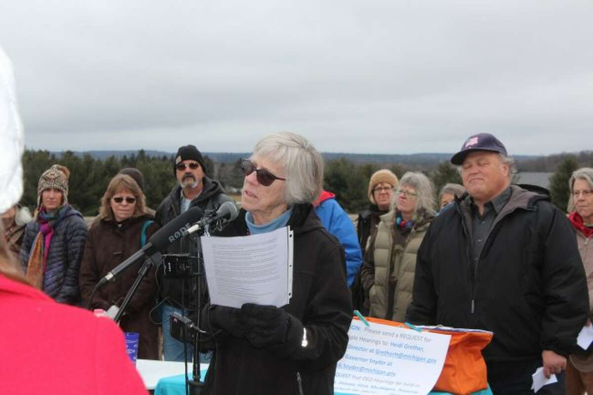Michigan Citizens for Water Conservation Board President Peggy Case speaks during a 2017 press conference near the Nestlé Waters North America Ice Mountain water bottling facility in Stanwood. The grassroots water conservation group, which was organized in 2000, has been one of the biggest opponents to the company's withdrawals at its wells in Mecosta and Osceola counties. (Pioneer file photo)