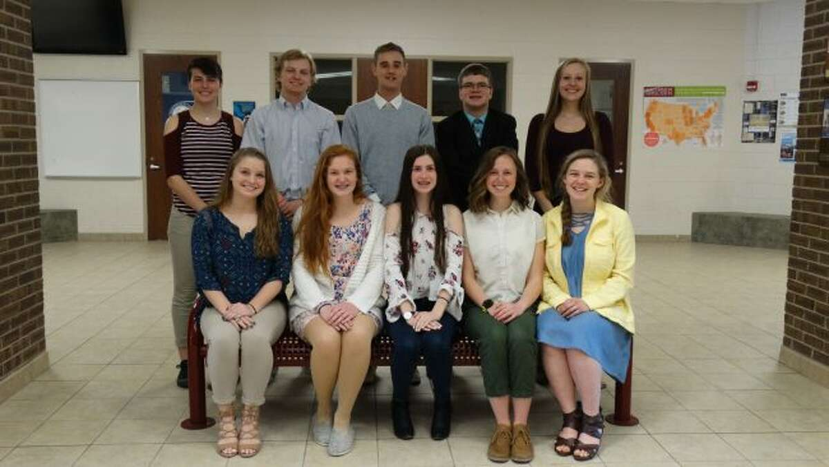 Chippewa Hills High School has announced its top 10 graduating seniors. Honored students include (back row, from left) Jessica Bonner, Cade Schafer, Trent Esch, Justin Ashbaugh, Rhianna Haynes, (front row) Payton Ethridge, Olivia Bitler, Clarissa Henry, Hannah Fiorillo and Brooke Ray. (Pioneer photo/Meghan Gunther-Haas)