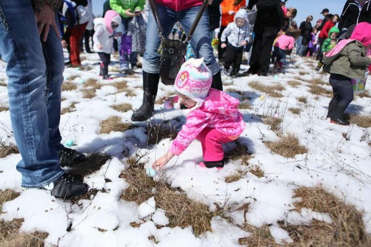 The eighth annual Easter Egg Drop will take place at 1 p.m. on Saturday, April 20, at the Evart Municipal Airport. More than 15,000 eggs will have candy available for the more than 1,200 children expected to attend. (Pioneer file photo)