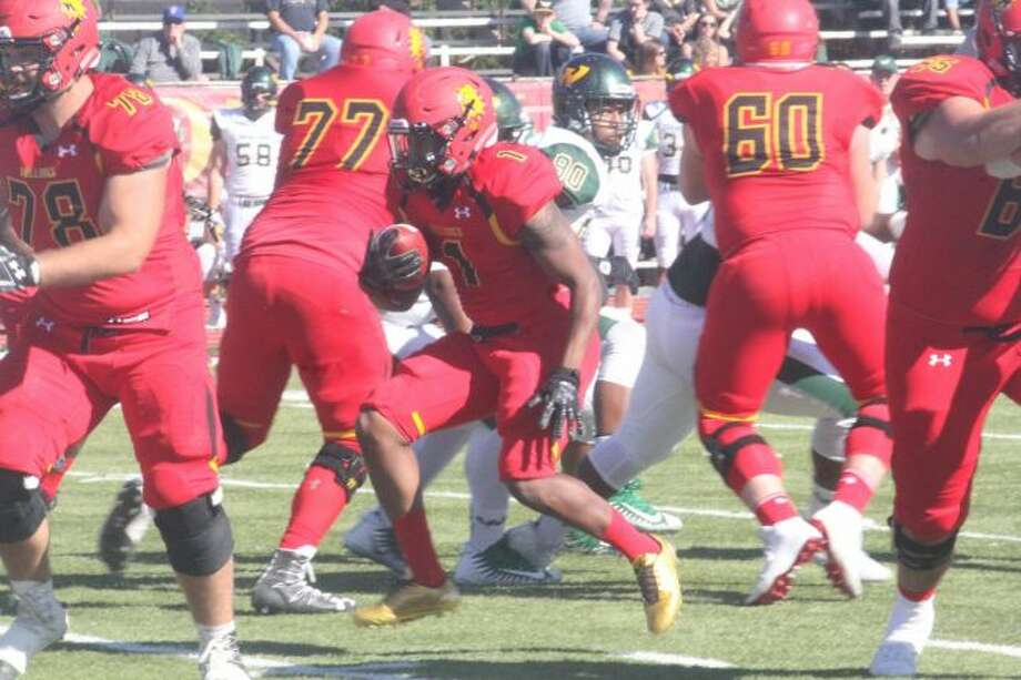 Ferris State's Robert Thomas III (1) breaks free. (Pioneer file photo)
