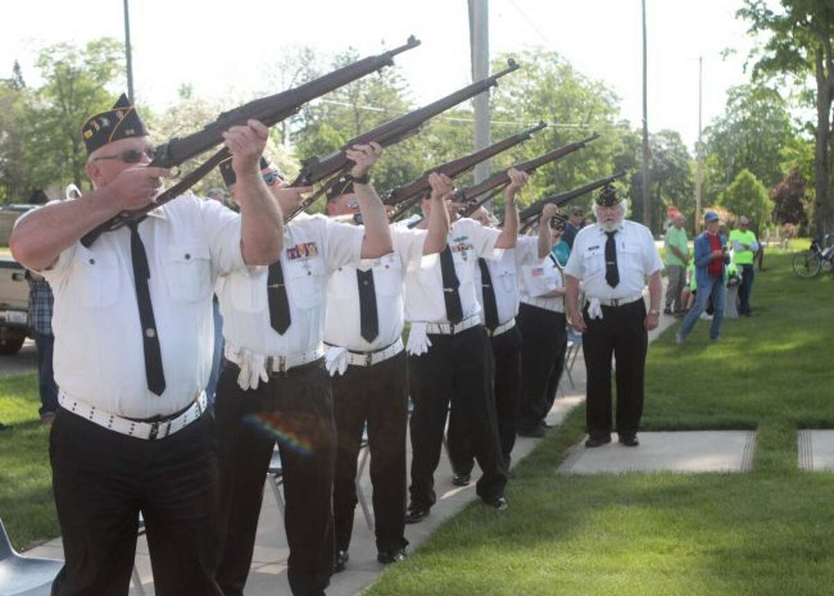 The American Legion Post No. 98 Honor Guard performed a gun salute during the Memorial Day ceremony at the Mecosta County Courthouse Monday morning.