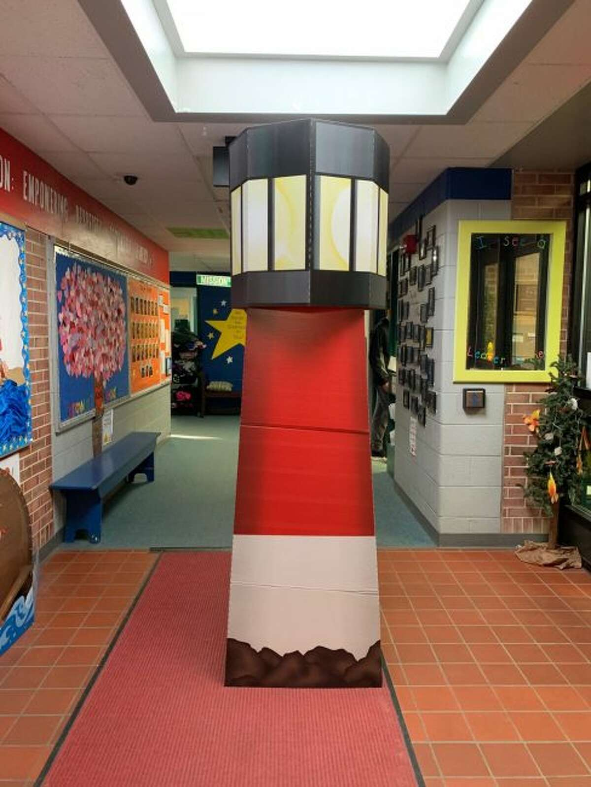 A lighthouse stands inside a hallway at Brookside Elementary School in Big Rapids, in recognition of the school's recent designation by the FranklinCovey education training firm. (Courtesy photo)