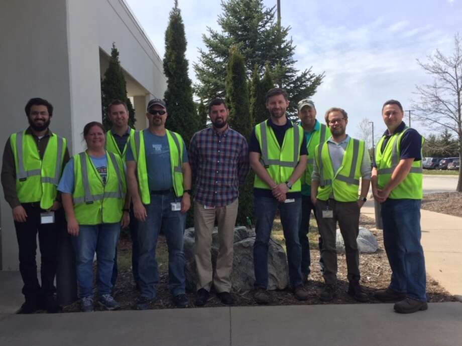 "Members of the Ice Mountain Leadership Team get ready to ""Hit the Road"" on Monday for Earth Day Adopt-A-Highway pick up along M-20 in Stanwood. (Courtesy photo)"