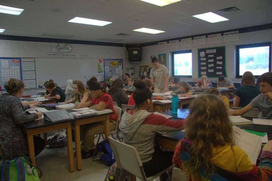 Big Rapids High School students work on homework during their last class of the day on Wednesday. Schools throughout the Mecosta-Osceola Intermediate School District participated in count day on Wednesday, which helps determine the amount of funding each school receives. (Pioneer photo/Meghan Haas)