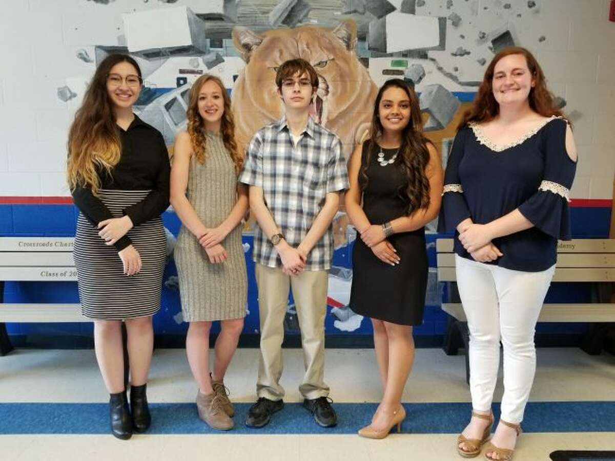 Crossroads Charter Academy has named its top five seniors. Honored students include (from left) Aminah Hashimi, Amber Poortvliet, Jacob Bartell, Nancy Jariwala and Trinity Murray. (Pioneer photo/Meghan Gunther-Haas)