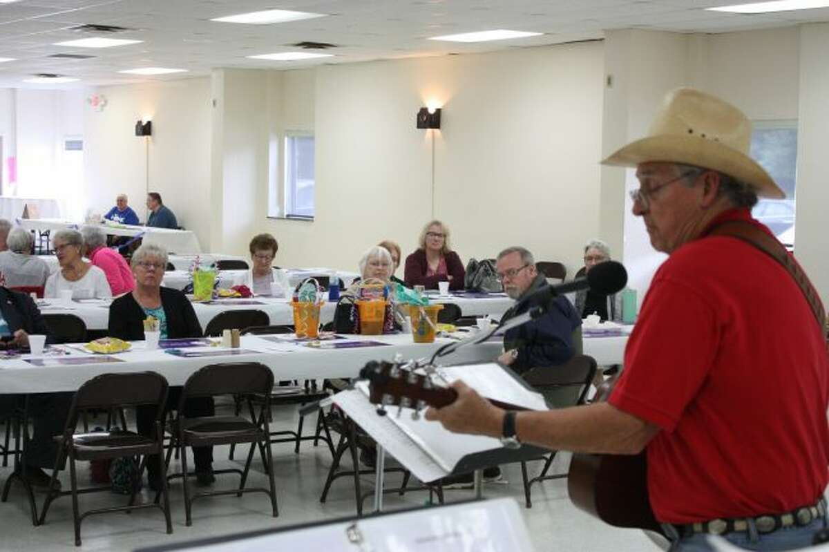Pete Jordan and his Fun-Loving Crowd are pictured performing at a luncheon held Thursday in support of volunteers with the Retired and Senior Volunteer Program (RSVP) of Mecosta, Osceola and Lake counties. (Pioneer photo/Tim Rath)