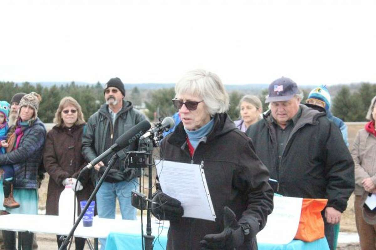 Michigan Citizens for Water Conservation President Peggy Case discusses Nestlé Waters North America's permit application to increase its water withdrawal capacity to 400 gallons per minute during a press conference in January 2005 in Stanwood. The grassroots groups is looking to challenge the April 2 decision by the Michigan Department of Environmental Quality's approval of Nestlé's application. (Pioneer file photo)