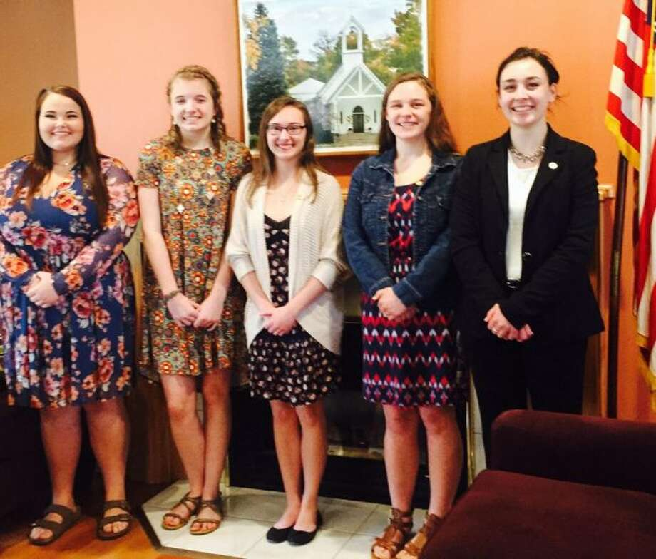 Honored guests at the DAR Good Citizens Reception for area high school seniors were Madison Sunderland, from Reed City; Madison Marks, from Pine River; Ciara Brown, from Big Rapids; Samantha Stilson, from Morley Stanwood; and Brooke Ray, from Chippewa Hills. Not pictured are Dixie Herington, from Baldwin; Katelyn Donley, from Crossroads Charter Academy; and Eve Roberts, from Lakeview. (Courtesy photo)