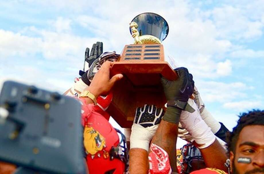 The Ferris State football team hopes to hoist the Anchor-Bone trophy once again this season. (Photo courtesy of Ferris State Athletics)