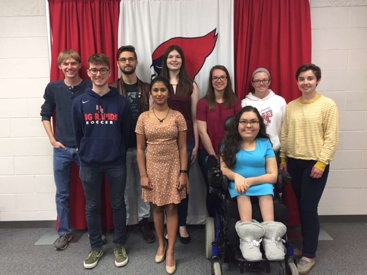 Big Rapids High School officials have named the top 10 seniors. Honored students include (back row, from left) Ryan Draves, Joey Vajda, Alyssa Douglass, Brook Mathewson, Jessica Norton, Katherine Langell, (front row) Ryan Cosper, Arya Rao, Kalina Mohnke and (not pictured) Eric Mackall. (Courtesy photo)