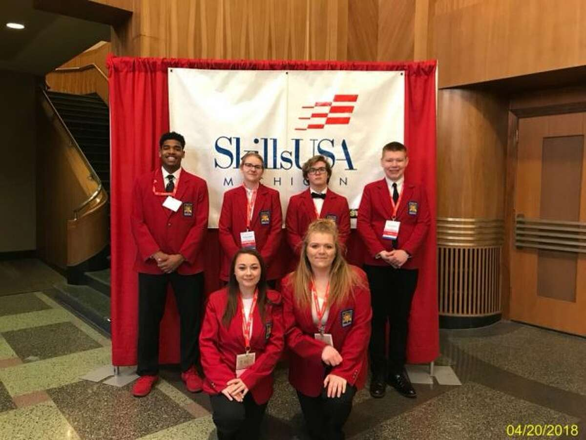 Mecosta-Osceola Career Center students (from left, back row) Damon Jones, Breanna Lenahan, Caleb Rauch, Paul Tumminello (front) Abagail Reddy and Deanna Pantelin were some of the many students who recently competed in the Michigan SkillsUSA state competition. (Courtesy photos)