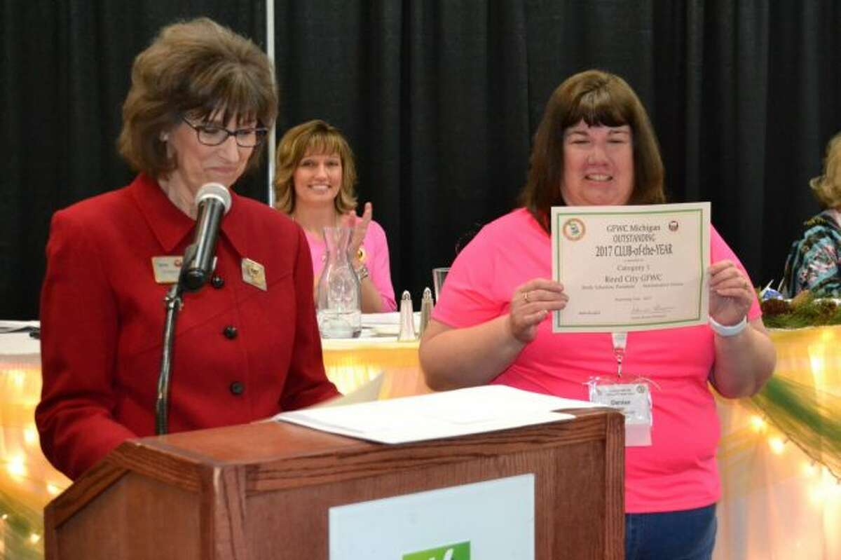Denise Allen accepts the Club of the Year award for GFWC Reed City. (Courtesy photo)