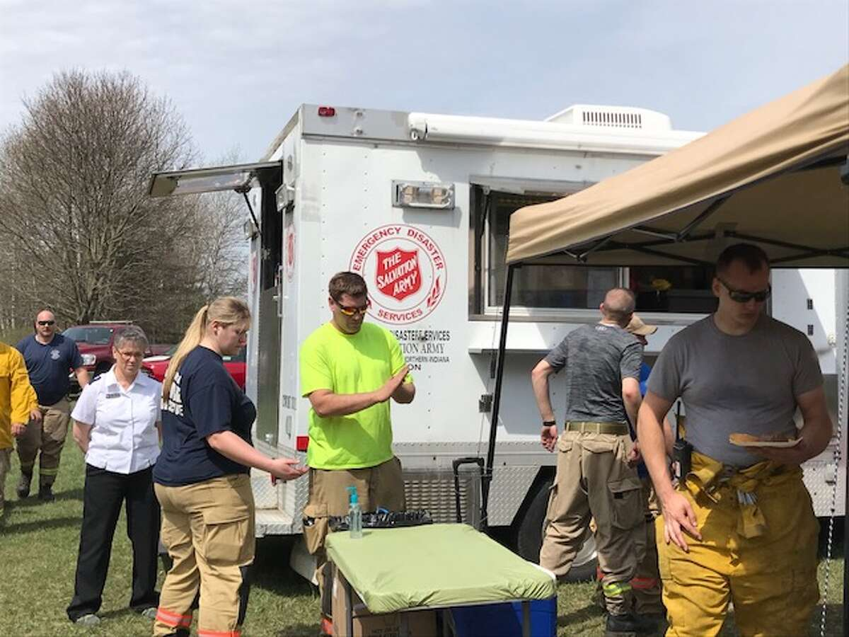 Salvation Army volunteers from the Big Rapids office provided support Tuesday evening into Wednesday for firefighters battling a wildfire west of Bill's Lake in Newaygo County. (Courtesy photo)