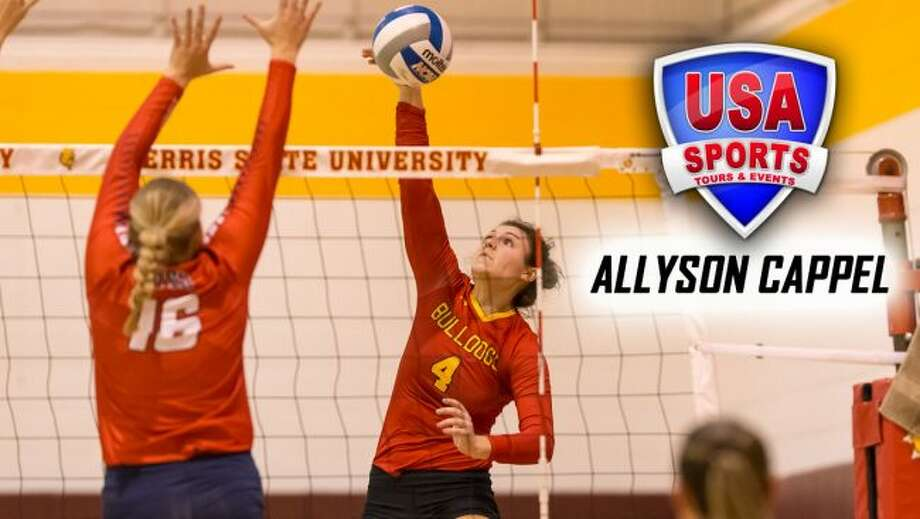 Allyson Cappel tallied 327 digs, 33 blocks, 22 aces and 13 assists in 2017. (Photo courtesy of Ferris State Athletics)