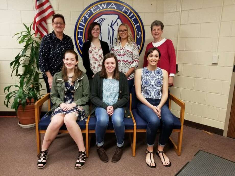 """GFWC Mecosta """"Heart of the Lakes"""" members Sherry Anderson (back left) and Fran Voci (back right) stands with the Chippewa Hills High School sophomores who will be going to the MYLead conference in June. Honored students include (from left, back row) Abigail Reynolds, Avery Claybaugh, (front row) Autumn Wustenberg, Riley Case and Taylor Neeb. (Pioneer photo/Meghan Gunther-Haas)"""