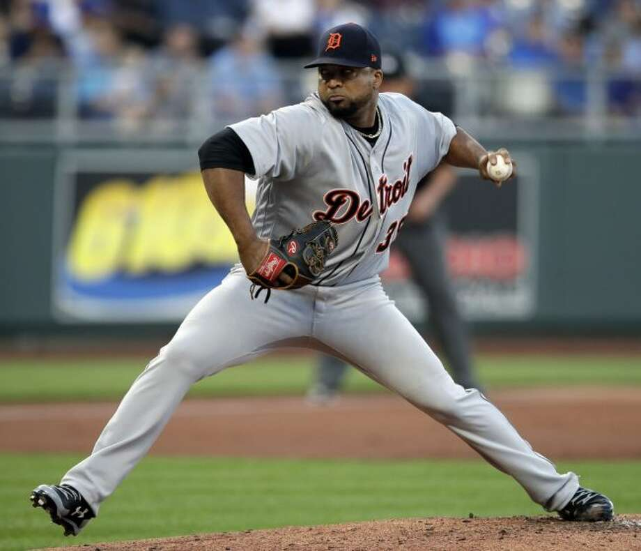 Detroit Tigers starting pitcher Francisco Liriano delivers to a Kansas City Royals batter during the first inning of a baseball game at Kauffman Stadium in Kansas City, Mo., Friday, May 4, 2018. (AP Photo/Orlin Wagner)