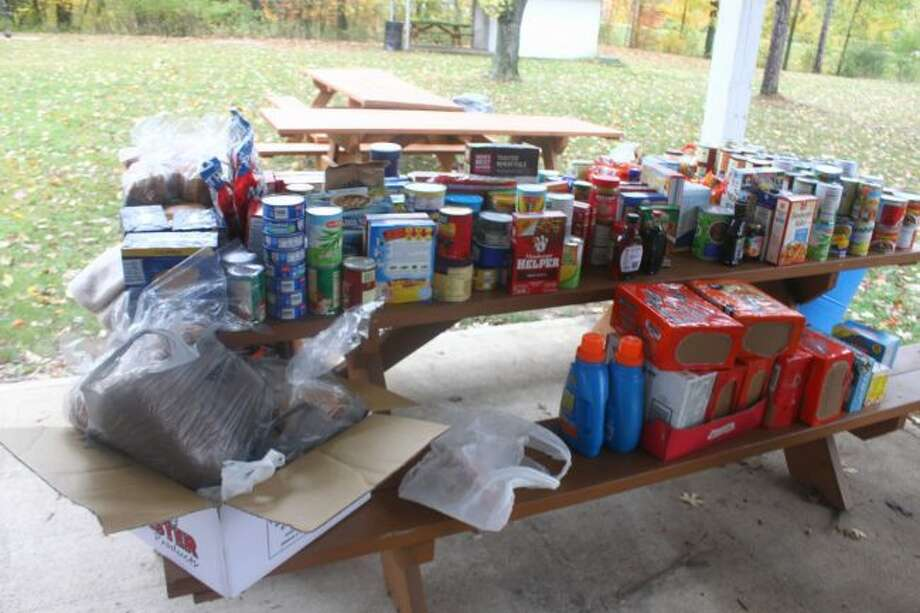 Many items were donated to benefit three food pantries in Osceola and Mecosta Counties. (Pioneer photo/Shanna Avery)