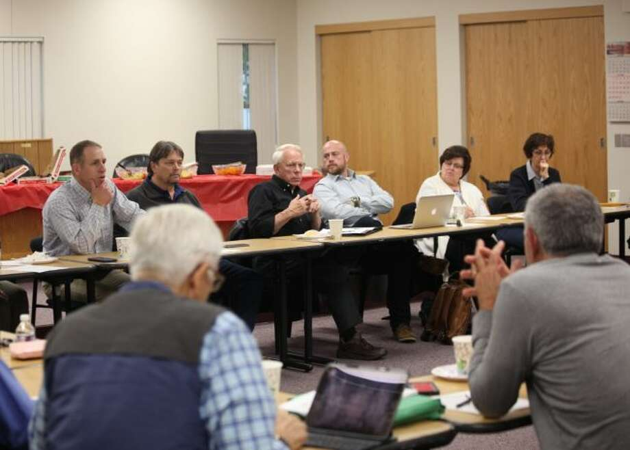 Members of the Big Rapids City Commission and Planning Commission discussed the next steps to take regarding the old railroad depot on Maple Street and the Hanchett property, which sits at the corner of State and Pere Marquette streets, during a special joint meeting on Monday evening. (Pioneer photo/Taylor Fussman)