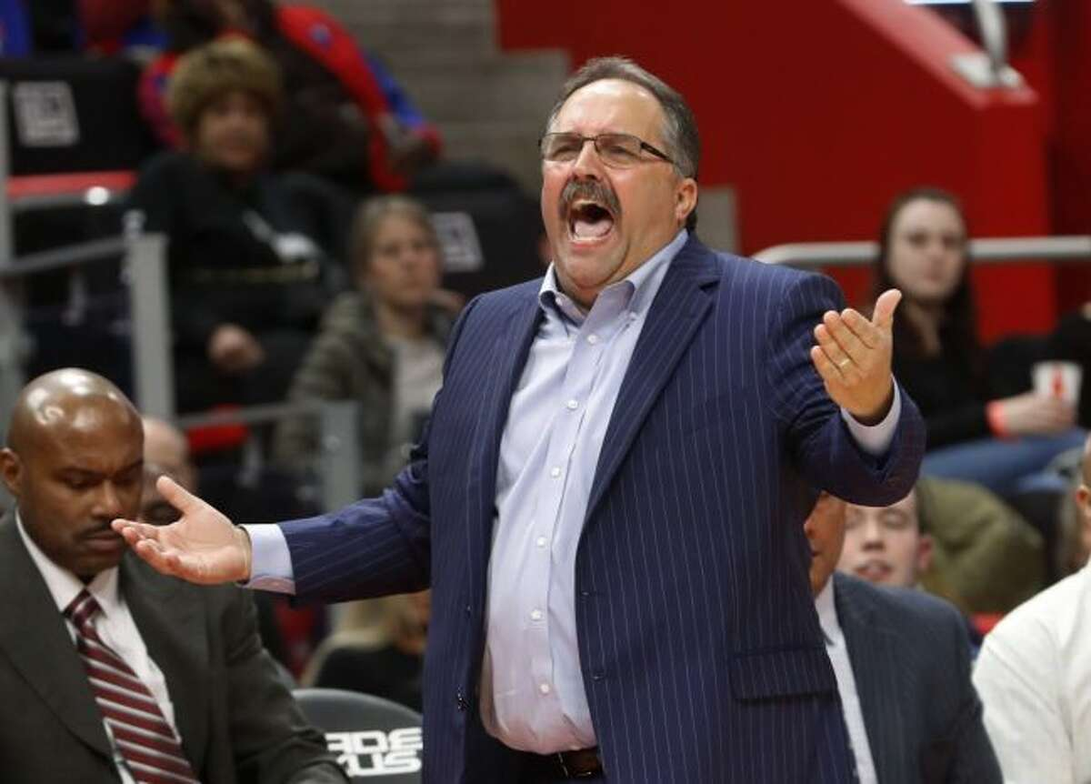 - In this Feb. 28, 2018, file photo, Detroit Pistons head coach Stan Van Gundy argues a call against the Milwaukee Bucks in the second half of an NBA basketball game in Detroit. Van Gundy will not return to the Detroit Pistons as coach or president of basketball operations. The Pistons announced Van Gundy's departure Monday, May 7, 2018, with owner Tom Gores saying in a statement that the team has not progressed over the past two seasons. (AP Photo/Paul Sancya, File)
