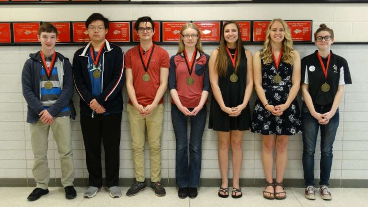 Reed City High School officials have named the 2018 senior scholars. Honored students include (from left) Lorenz Hoernel, Benny Chan, Sean Wineman, Mia Hille, Britney Williams, Allison Obermier and Jade Ebels. (Pioneer photo/Meghan Gunther-Haas)