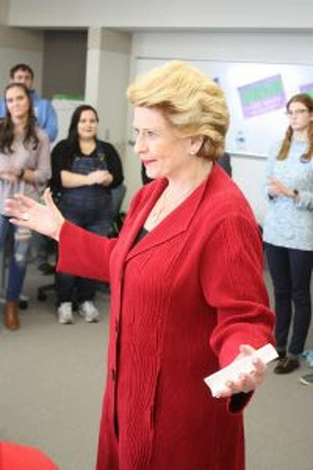 Democratic U.S. Sen. Debbie Stabenow speaks before a crowd of more than 50 at Ferris State University on Wednesday. Stabenow is running for her fourth term in the Senate against Republican John James. (Pioneer photo/Tim Rath)