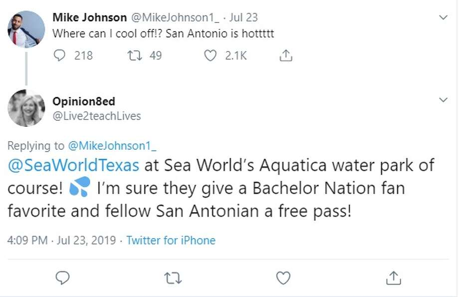 """San Antonians give Mike Johnson from ABC's """"The Bachelorette"""" funny and practical tips on where to cool off in the city. Photo: Twitter: @Live2teachLives"""