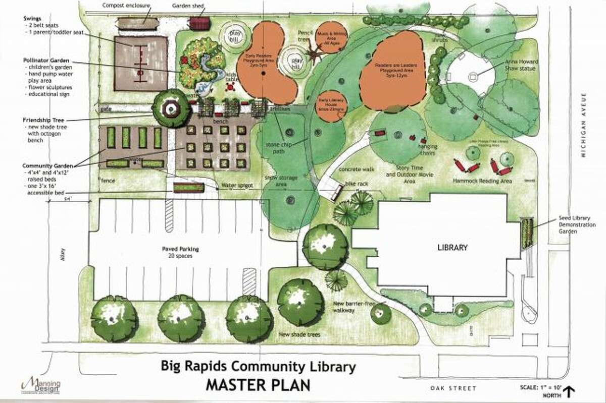 The master plan for the playground in the park near the Big Rapids Community Library calls for different areas geared toward specific age groups, a parking lot and community garden boxes. (Courtesy image)