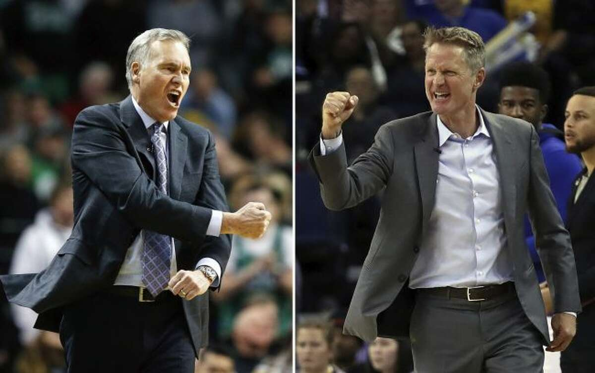 At left, in a Dec. 28, 2017, file photo, Houston Rockets head coach Mike D'Antoni reacts to a call during the third quarter of an NBA basketball game against the Boston Celtics in Boston. At right, in a March 14, 2018, file photo, Golden State Warriors coach Steve Kerr during the second half of the team's NBA basketball game against the Los Angeles Lakers in Oakland, Calif. The series that everyone in the NBA apparently wanted to see is about to happen. (AP Photo/File)