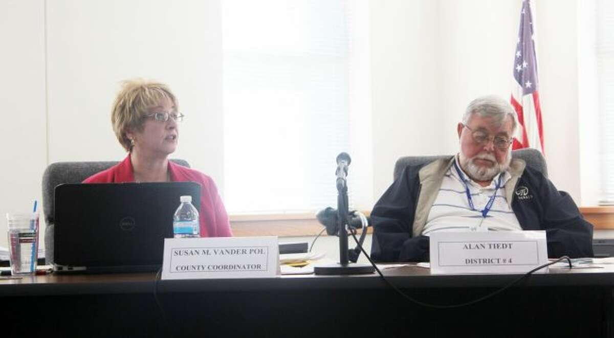 Osceola County Coordinator Susan Vander Pol speaks about the proposed 2018 general fund budget during Tuesday's Committee of the Whole meeting. Officials are down to trying find ways to resolve the nearly $1.3 million deficit in the budget. (Pioneer photo/Brandon Fountain)