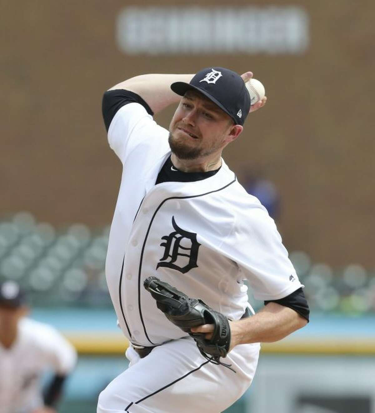 Detroit Tigers relief pitcher Alex Wilson throws during the seventh inning of a baseball game against the Tampa Bay Rays, Wednesday, May 2, 2018, in Detroit. (AP Photo/Carlos Osorio)