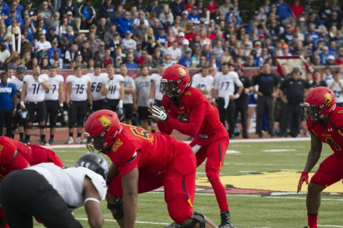 Ferris State quarterback Reggie Bell prepares to take a snap during Saturday's game against Grand Valley State at Top Taggart Field. (Pioneer photo/Maxwell Harden)