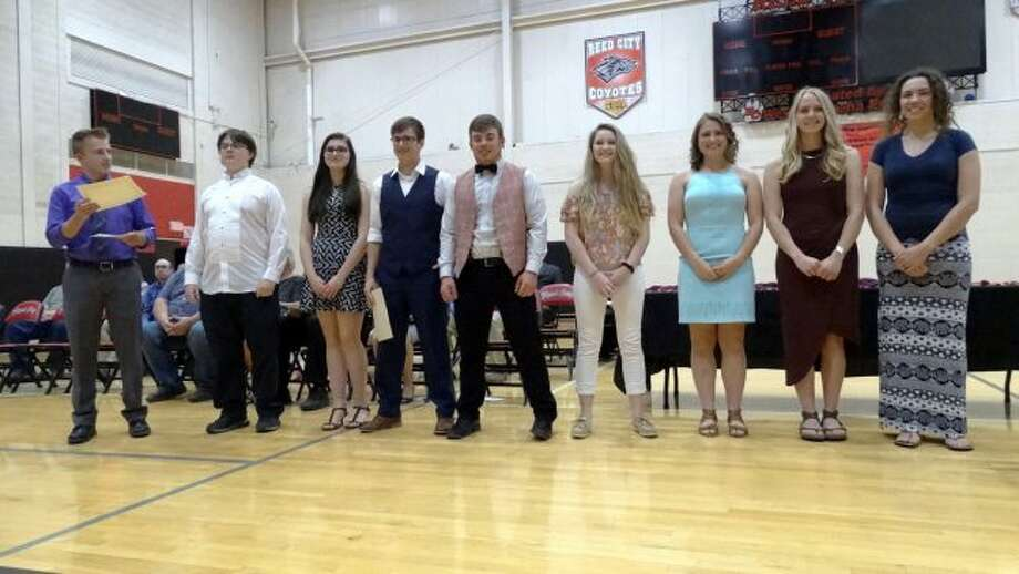 Reed City High School seniors stand ready to receive their award certificates during the 2018 Senior Honors Program on Wednesday. (Pioneer photo/Meghan Gunther-Haas)