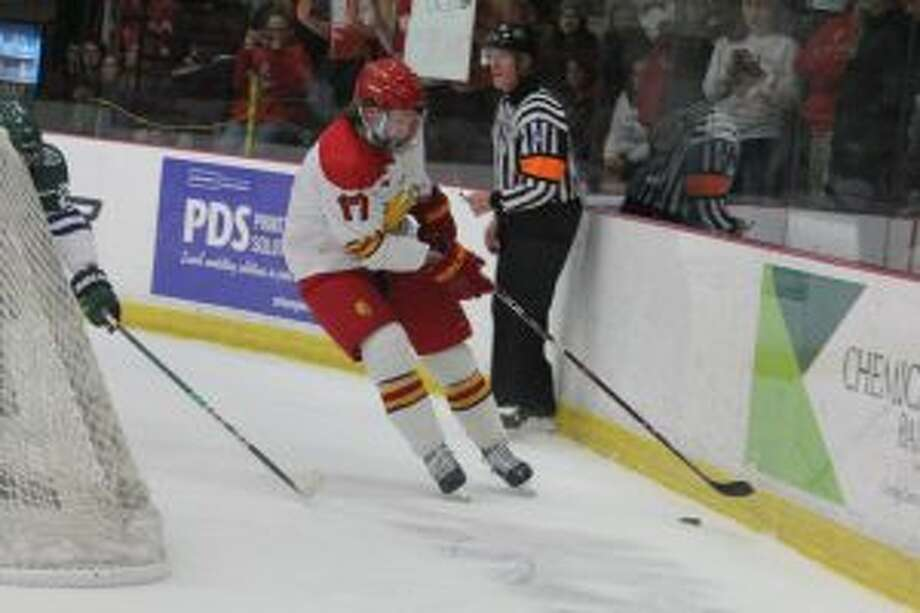 Ferris' Marshall Moise goes after the puck.