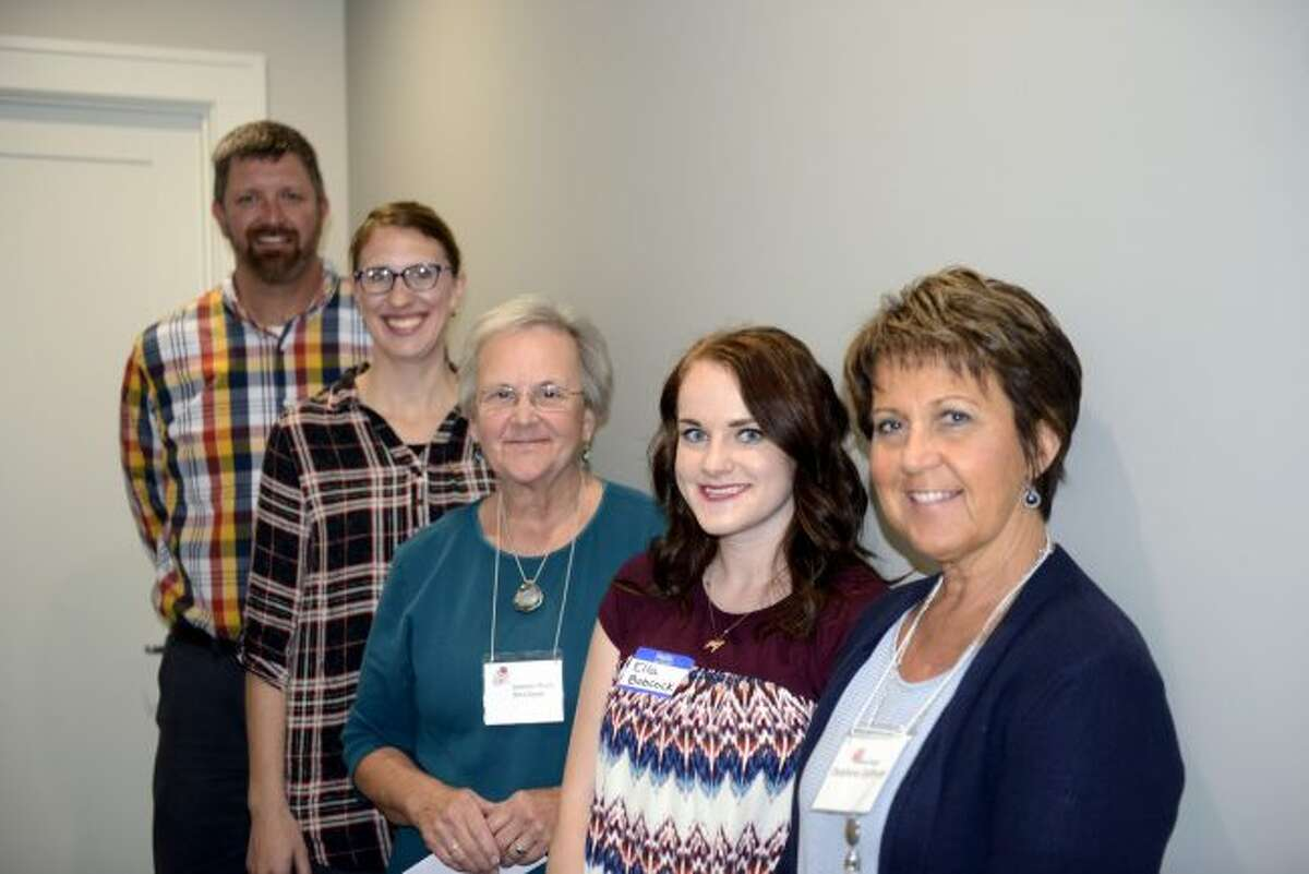 Five of the 10 teachers who received mini-grants of $150 from Delta Kappa Gamma gathered for a photo. Pictured are (from left) Jason Gielczyk, Antoinette Yiberhu, Jeanette Fleury, Ella Babcock and Delphine Defever. (Courtesy photo)