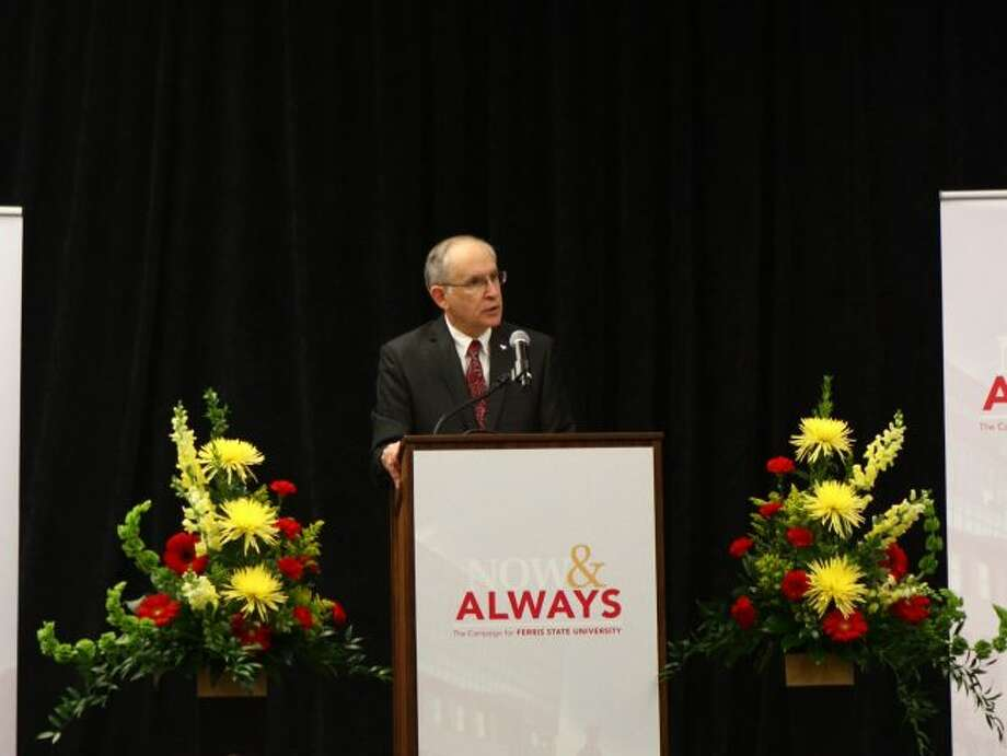 Ferris State University President David Eisler announced the Now and Always campaign during the launching ceremony in November of 2017. Recently, due to the currently success of the campaign, organizers have announced in increase in the goal from $80 million to $115 million. (Pioneer file photo)