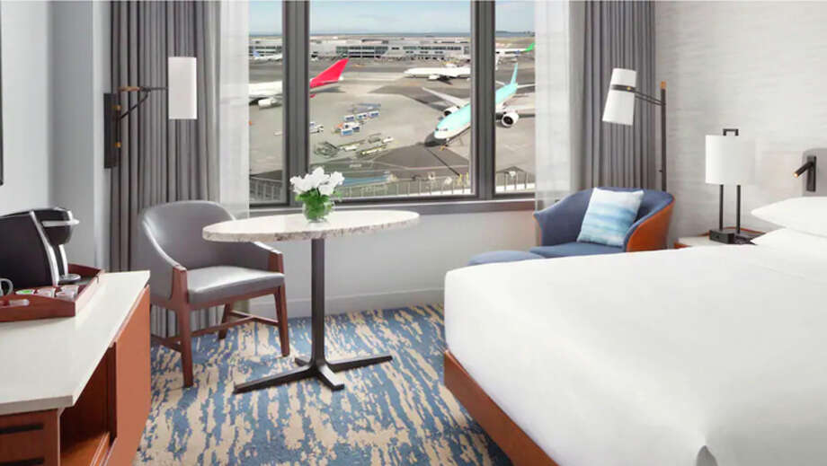 A guest room with runway views at the Grand Hyatt SFO. Photo: Hyatt