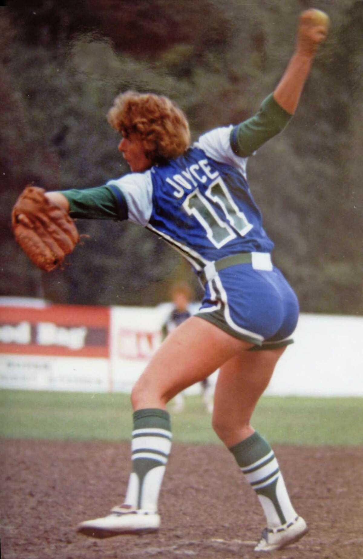 Joan Joyce in action when she was the most successful pitcher in the country.